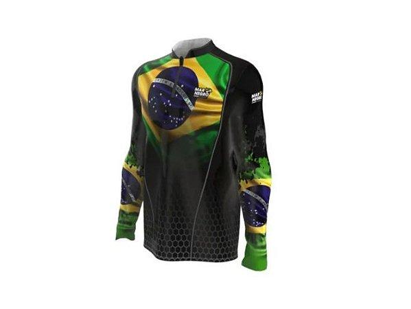 Camiseta Camisa Pesca Proteção Uv50 Mar Negro - Brasil M