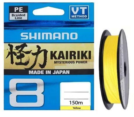 LINHA MULTIFILAMENTO SHIMANO KAIRIKI 8 PE 20LB 0,200MM X 150M AMARELO