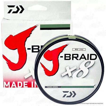 LINHA MULTIFILAMENTO DAIWA J-BRAID 8 150M 20LBS 0,23MM DARK GREEN