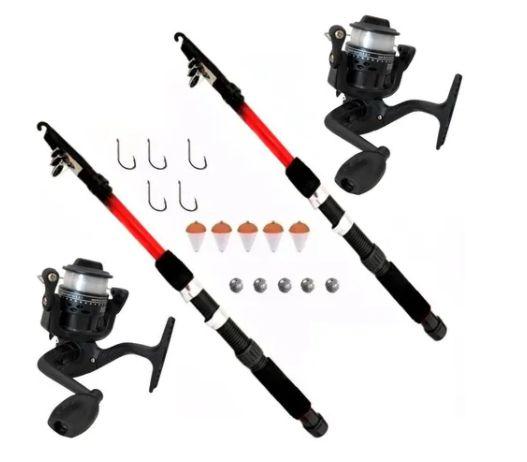 Kit Pesca Completo 2 Molinetes 2 Varas 200m Linha