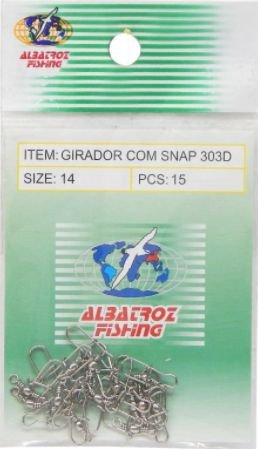 GIRADOR COM SNAP CARTELA ALBATROZ FISHING NICKEL 303D Nº 14 C/ 15 PÇS