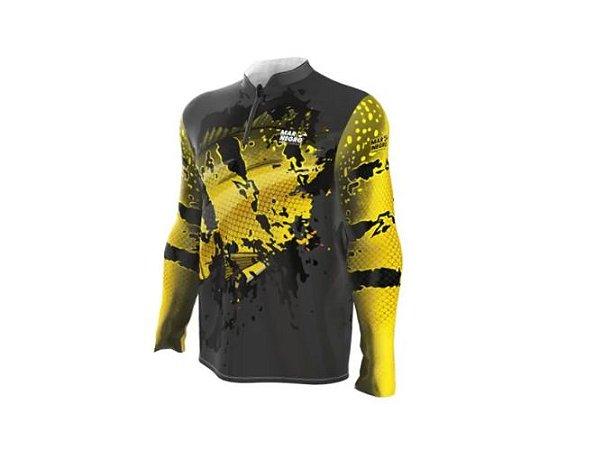 Camiseta Camisa Pesca Proteção Uv50 Mar Negro - Tucunaré Amarelo G