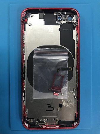 Carcaça Chassi Iphone 8 red Original Apple com detalhes