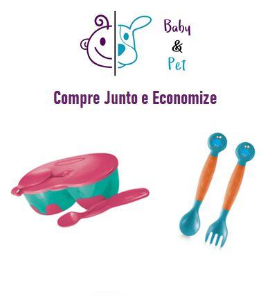 Kit Prato Fundo com Divisória e Colher + Colher e Garfo Flexíveis - MultikidsBaby