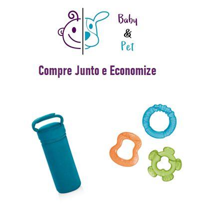 Kit Porta Mamadeiras Térmico Azul + Mordedor com Água Tender Bites 3 Peças - MultikidsBaby