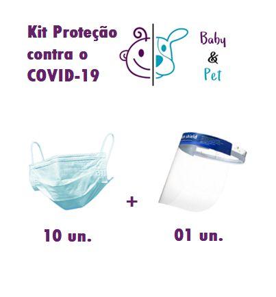 Kit 10 Unidades de máscara 3 camadas descartável esterilizada + Viseira de Segurança