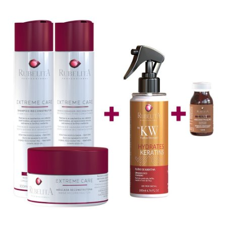 Kit Extreme Care + Spray Queratina Líquida + Ampola Last Reconstrução - Deu Match