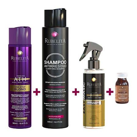 One Step Blond 300ml + Shampoo Antirresíduo + Spray Easy Mask + Ampola Last Reconstrução - Deu Match