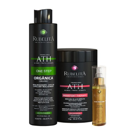 Kit One Step 1L + Máscara Resistent Therapy 1kg + Óleo Reparador de Pontas - Rubelita