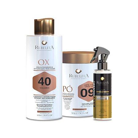Kit Pó Descolorante + Água Oxigenada Emulsão OX 40 + Easy Mask