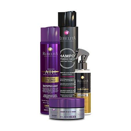 One Step Blond + Máscara Blond +  Easy Mask + Shampoo Anti Resíduo 500ml Rubelita Professional