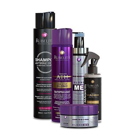 One Step Blond + Liso Mágico + Linha Blond Me + Shampoo Antirresíduo 500ml Rubelita Professional