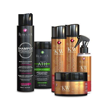 Kit Karlos Wendell+ Btox Orgânico 1KG + Shampoo Anti Resíduo 500ml Rubelita