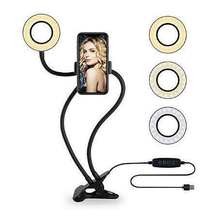 Iluminador Ring Light Suporte Articulado De Mesa Professional Live Stream