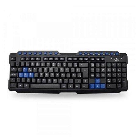 Teclado Gamer Action Preto/Azul USB OEX TC200