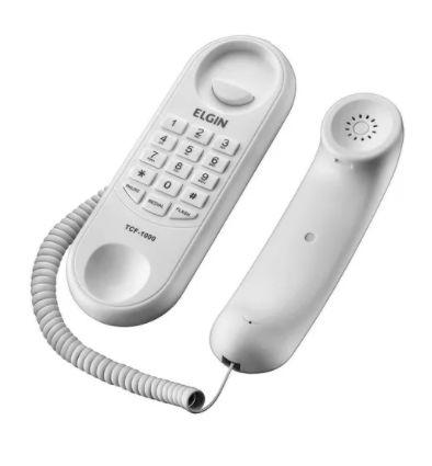 Telefone Gondola de Mesa e Parede c/ Fio Branco Elgin