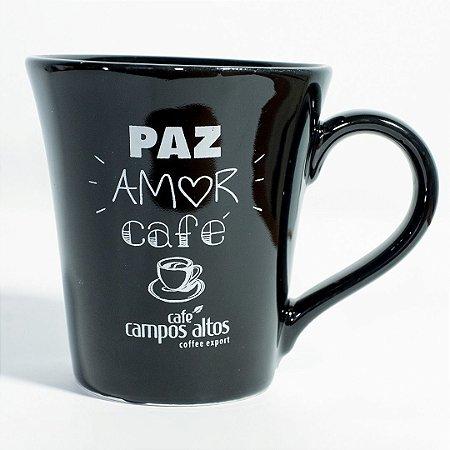 """Caneca AVULSA preta """"Paz amor e café"""""""
