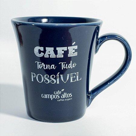 """Caneca AVULSA azul """"Café torna tudo possível"""""""