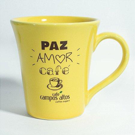 """Caneca AVULSA amarela """"Paz amor café"""""""