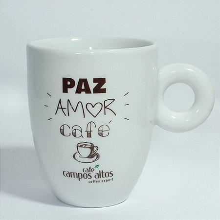 """Caneca AVULSA branca """"Paz amor café"""""""