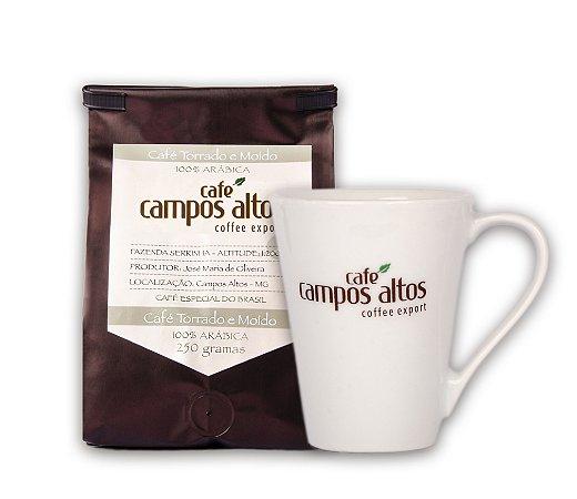 Kit Café Especial Campos Altos Moído 250 gramas e Caneca