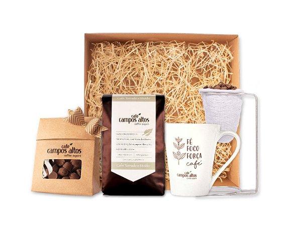 Kit Café Campos Altos - Chocolate Crocante de Café + Café Especial 500g MOÍDO + Caneca + Coador