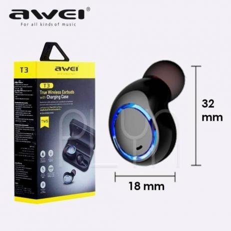 Fone de Ouvido Esportivo Bluetooth Intra Auricular Awei TWS T3
