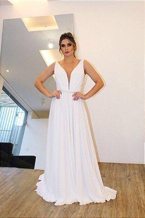 Vestido Ponta de Ombro Minimalista - Farthingale