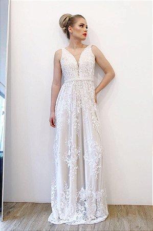 Vestido Ponta de Ombro Renda - Farthingale