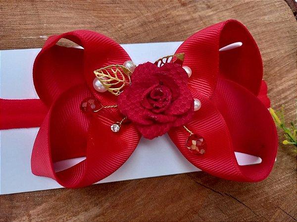 Laço faixa Flor Vermelho Luxo