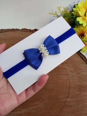 Gravatinha duplo chuva de pérolas azul royal