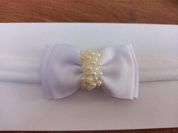 Gravatinha duplo chuva de pérolas branco
