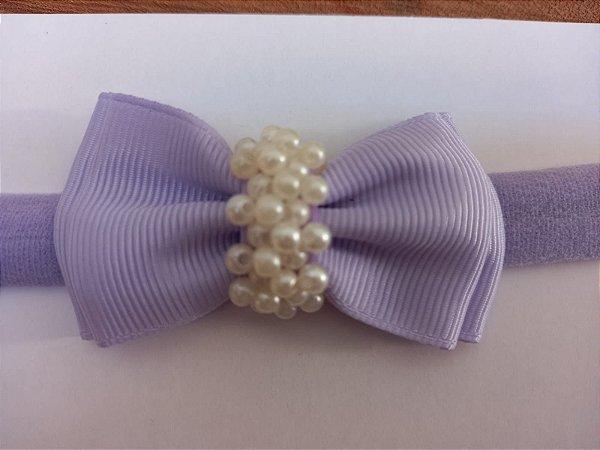 Gravatinha duplo chuva de pérolas lilas