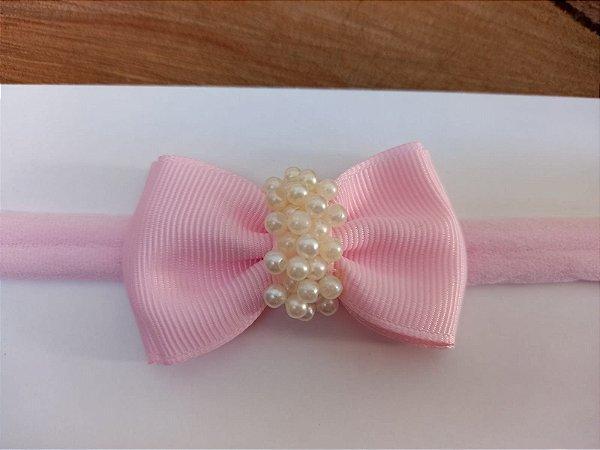 Gravatinha duplo chuva de pérolas rosa