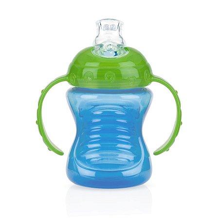 Copo Com Alça Para Bebê Com Super Bico De Silicone (4m+) - 240ml - Nûby Azul