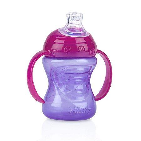 Copo Com Alça Para Bebê Com Super Bico De Silicone (4m+) - 240ml - Nûby Lilás