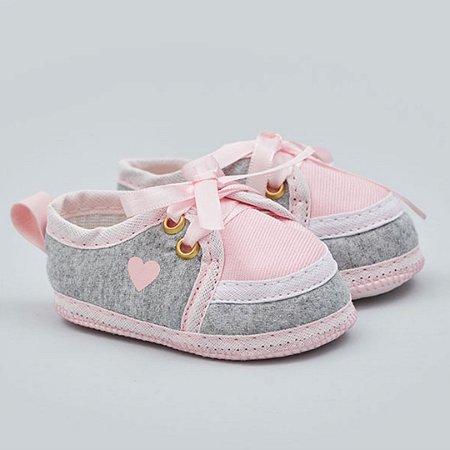 Tênis Essencial Cadarço Rosa/cinza  Baby