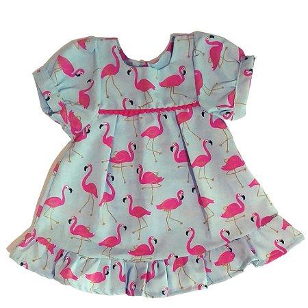 VESTIDO - KIT 3 Peças ( Vestido + Calcinha + Faixa de cabeça) Flamingo