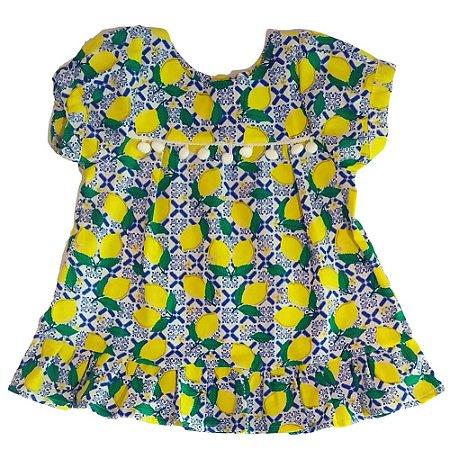 VESTIDO - KIT 3 Peças (Vestido + Calcinha + Faixa de cabeça) Limão