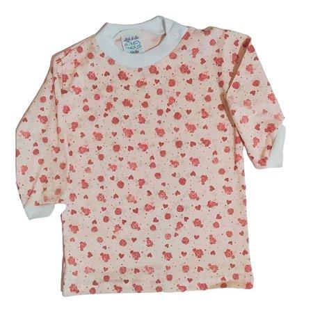 Camiseta manga longa estampada Rosa coração