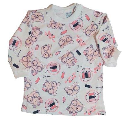 Camiseta manga longa estampada  Ursinho