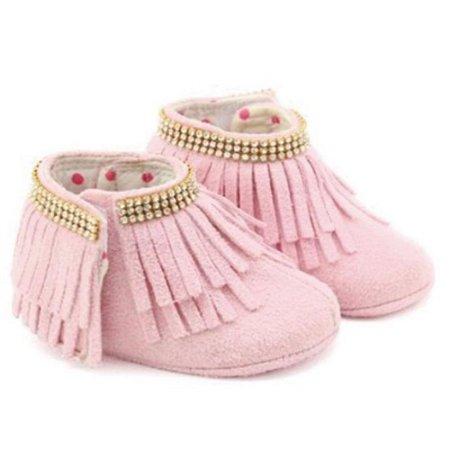 Bota baby babado rosa