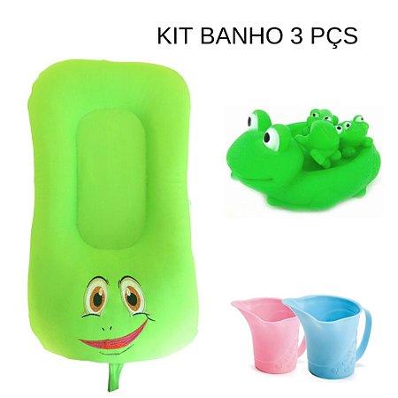 Kit - Almofada de Banho e Ninho - Sapo Miguel + Sapinhos Borracha + Enxágue de banho