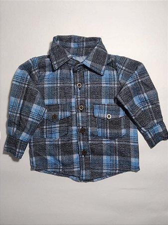 Camisa Xadrez Manga Longa - Azul