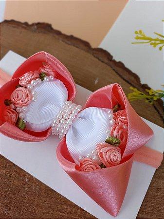 Laço Rosa Flor com pérolas