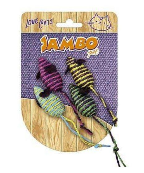 Brinquedo para Gatos Ratinho Palha com 4 unidades - Jambo
