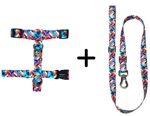 Kit Guia e Peitoral para Cachorro estampa Abstract – Buddy Dog