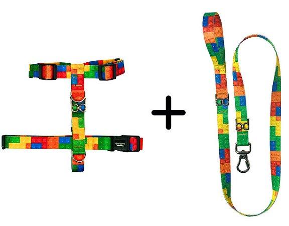 Kit Guia e Peitoral para Cachorro estampa Lego – Buddy Dog