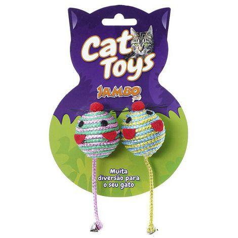 Brinquedo para Gatos Ratinho Redondo com 2 unidades - Jambo