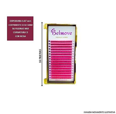 Cílios Color Mix ROSA 10 ao 14 C 0.07 16 Fileiras - Belmove